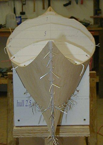 Wiring hull side plates into a Stitch & Glue kayak
