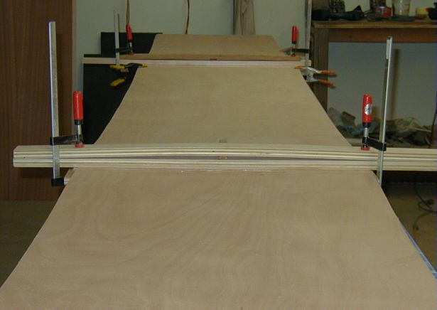 Gluing scarfed Okume plywood sheets together