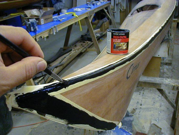 Decorative paint stripes on a Stitch & Glue kayak